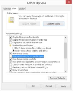 folder options unhide