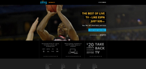 sling tv home trial page