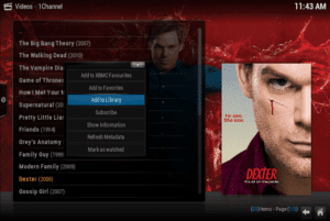 Kodi addons 1channel xbmc add to library